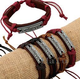 BELIEVE bracelets mens bracelet 12pcs lot Handmade for men's women BELIEVE Leather Bracelet braided Tribal Adjustable Size