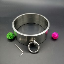 Wholesale Steel Collar Wrist Ankle Cuffs - 2016 new BDSM sm sex toys Luxury Stainless Steel Heavy Duty Collar   Thick screw Locking Collar Mirror Polished
