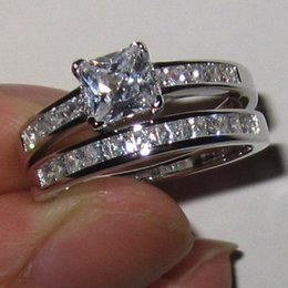 Women's 925 Silver Filled Square Simulated Diamond CZ Stone Wedding Ring Sets Brand Jewelry Size 5-11
