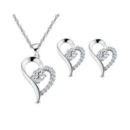 18KGP Heart Necklace Earrings Sets For Women Best Gift 925 Silver Heart Jewelry Sets Zircon Necklace Set 8146