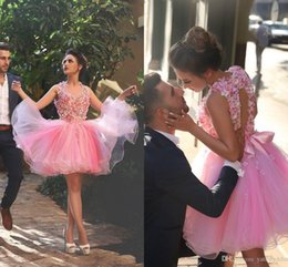 2016 New Arabic Homecoming Dresses Illusion Neck 3D Floral Flowers Pink Tulle Short Mini Hollow Back Party Said Mhamad Formal Cocktail Gowns