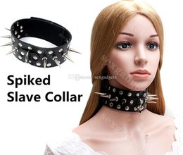 Spiked BDSM Slave Collars Slut Neck Collar Restraints Gear Adult Sex Toys for Women Black PU ASL-XQ0093