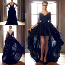 Cheap 2019 Black Lace Evening Gowns Long V Neck Half Sleeve High Low Floor Length Sequined Backless Vestido Prom Dresses