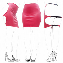 Wholesale Sexy Red Dresses Faux Leather Slave Spanking Skirt Open Hip Bondage Fetish Lingerie Erotic Sexy Lace Up Mini Dress Adult bdsm Sex Toys