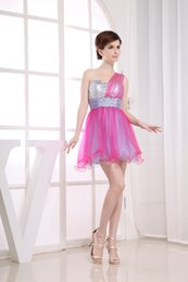 Wholesale Sexy One Shoulder Fuchsia Tulles And Light Purple Taffeta Two Pieces Silver Sequined Sparkle Mini Party Dresses For Retailers NYC