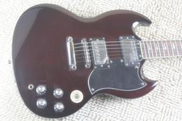 Hot Sale SG style Signature rouge foncé foudre Guitare électrique 6 cordes Guitares EMS Drop Shipping gratuit supplier signature guitars for sale à partir de guitares de signature à vendre fournisseurs
