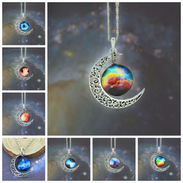 Wholesale 12 colors Vintage moon necklace starry Moon Outer space Universe Gemstone necklaces pendants Chain jewelry Children Accessories bjd nerf