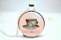 Wholesale 10pcs Tea Cup Necklace Victorian Style Jewelry glass cabochon dome pendant necklace