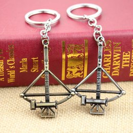 Wholesale 2 color AMC TV quot The WALKING DEAD DOG TAG CROSSBOW METAL Keychain Key Ring Pendant Key Chain