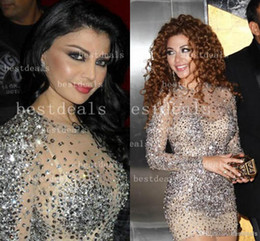 2019 Myriam Fares Celebrity Dresses Jewel Neck Crystal Beaded Tulle Long Sleeves Short Sheath Sheer Evening Gowns Short Prom Dresses
