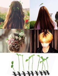 Wholesale 16 Design Funny grass hairpin Cute plant hairpin grass hairpin The mushroom hair clips Small bean sprouts hairpin simulation plants childre
