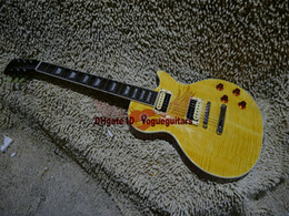 Wholesale guitars High Quality Tiger Yellow Flame Electric Guitar ONE Piece Neck OEM guitars free shipping
