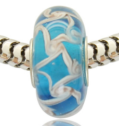 Copper Material with Rhodium Plating Core 5mm Hole Lampwork Murano Glass Bead Fits Pandora Charm Bracelet