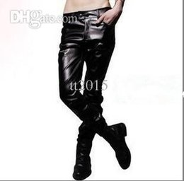 Wholesale-13 spring and autumn personality leather pants tight-fitting male slim leather pants men's clothing PU trousers white