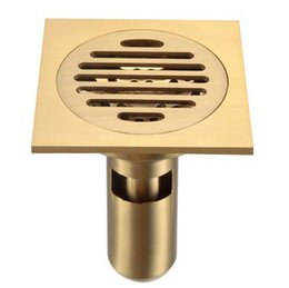 """Bathroom Shower Floor Drain with Removable Strainer , Polished Brass 4"""""""