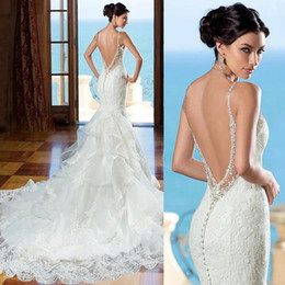 Wholesale 2016 Beautiful Backless Wedding Dress Sweetheart Lace Mermaid Gown With Beaded Straps Low Back With Ruffled Skirt Bridal Dresses