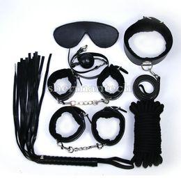 Hot BDSM 7 pieces set adult game leather fetish gears bondage restraint sex product