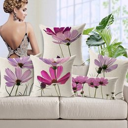 Purple Flower Custom Cushion Covers Floral Linen Cotton Throw Pillows Cases Art Painting Pillow Covers Sofa Chair Seat Decoration