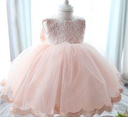 Newborn Baby Girls Tutu Dress Lace Net Yarn Pink Princess Dresses For Baby Big Bowknot Infant Party Clothes 3M-6M-12M 0-1Age K366 XQZ
