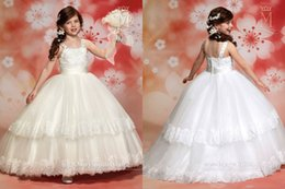 Wholesale Wedding Ball Gown Flower Girl Dresses Spaghetti Lace Beaded Tiered Tulle Floor Length Covered Button Cheap Baby Kids Communion Dresses