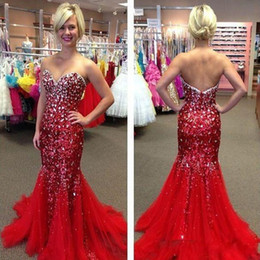 2016 Cheap Bling Sequins Evening Dresses Wear Sweetheart Crystal Beads Long Red Tulle Mermaid Sweep Train Formal Prom Party Pageant Gowns