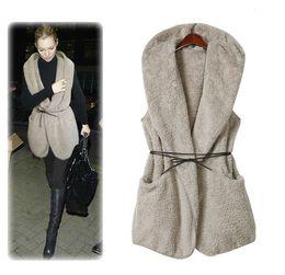 Promotion hoodie de la fourrure pour les femmes Hot Automne Mode Femmes Dames Hoodies Faux Agneau Fourrure Longs Top Vest Outwear Waistcoat
