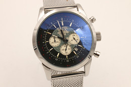 Top Hot Sale Chronograph Men's Watch Silver Staimless Belt Silver Skeleton Black Dial Back and White Pointer Trend watches