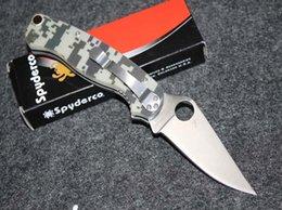 Wholesale Spyderco Para military Knife Cr13Mov blade satin plain Camouflage G10 handle folding blade knife knives