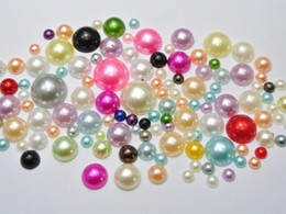 Wholesale 500 Mixed Color Acrylic Round Half Pearl Assorted Size mm mm FlatBacks Scrapbook Craft