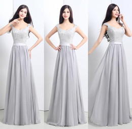 Cheap Lace Bridesmaid Dresses Sweetheart Cap Sleeve Silver Chiffon A Line Floor Length Party Dress Prom Gowns