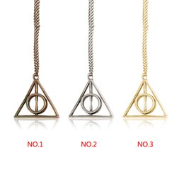 Wholesale Hot Sale pendant Triangle Hot movie harry potter deathly hallows silver Long Chian necklace as gifts