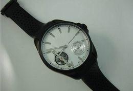Wholesale 2016 nueva caja de lujo del nuevo Mens Hombres de Negro Automático PVD Calibre Cara Blanca hombres del reloj de péndulo Tourbillon de buceo Relojes deportivos