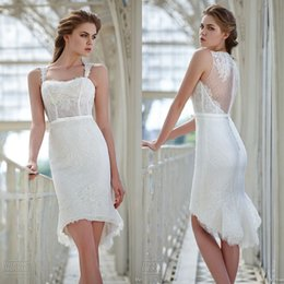 Wholesale Slim Fit Sweetheart Lace - 2016 Gorgeous Mermaid Short Beach Wedding Dresses Victoria F. Sweetheart Slim Fit Lace Bridal Gowns Custom Made