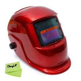 Wholesale UV IR Protection Automatic Welding Mask Solar Auto Darkening Tig Mag Grinding ARC Welding Helmet Welding Supplies Red DH005 order lt n
