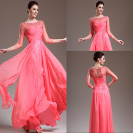 2015 Sheer Vintage Evening Dresses Bateau See-through Long 3 4 Sleeves Floor Length Watermelon-red Women Formal Prom Pageant Gowns Beading