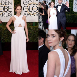 Wholesale 2015 Emily Blunt Celebrity Evening Dresses For nd Golden Globe Sexy White Criss Cross Straps A Line Floor length Chiffon Red Carpet Gowns