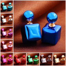 Wholesale UV shining cube stud earrings double side Square pearl big ball earings fashion jewelry bohemian statement gifts for Women