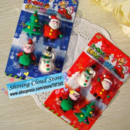 Wholesale Free ship Hot card Cute Santa Claus Christmas tree snowman shape rubber eraser group Blister card erasers Christmas gift