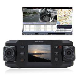 Cámaras de lentes de porcelana en Línea-Dual Lens Car Dvr Cámara Dos Lentes Vehículo DVR Dash Recorder GPS G-sensor