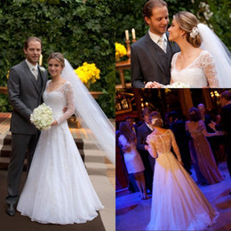 Long Sleeve Elegant Women Wedding Dress for Bride A Line White Tulle Lace Fabric vestidos de novia casamento See Through