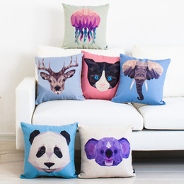 Geometric Triangles Color Patchwork Animals Cushion Cover Deer Racoon Shark Wolf Tiger Bear Pillow Covers Linen Cotton Custom Pillow Case