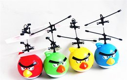 Wholesale 4pcs lott Induction Toys Colour Flying Bird UFO Drone Infrared Induction Helicopter birthday gifts For Kid s