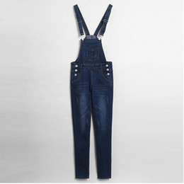 Wholesale-2015 New European style large size woman suspenders jeans pants female Bib overalls denim Romper Jumpsuit Bodysuit Long Pants