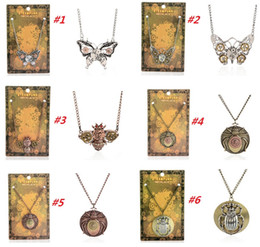 Wholesale 2015 New Vintage Steampunk Butterfly Bees Beetle Gear Pendant Necklace Retro Punk Jewelry For Men Women
