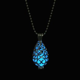 Wholesale Fashion Fluorite Rhinsetone Women The Little Mermaid s Teardrop Glow in Dark Pendant Necklace Luminous Cage Pendant