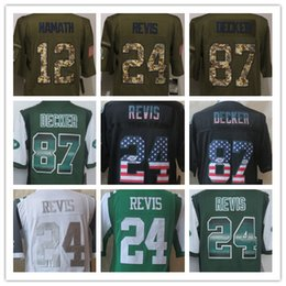 Wholesale Factory Outlet Men s Joe Namath Darrelle Revis Eric Decker USA Flag Strobe Limited Salute To Service Green Football Jer