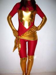 Red X-men Phoenix Spandex Superhero Costume Halloween Party Cosplay Zentai Suit