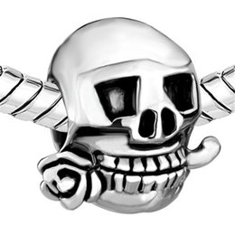 2016 stylish Halloween Rose skull bead Rhodium Plating Silver Color European Charm Fits Pandora DIY Bracelet