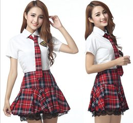 Wholesale sexy costumes Seductive Girl Red school uniform for girls adult costume crop top and mini skirt fantasias eroticas