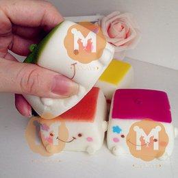 Wholesale 20pcs New CM Jumbo Candy Colors Tofu Squishy Charm Bag Decorations Decompression Toys